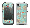 The Teal Vintage Seashell Pattern Apple iPhone 4-4s LifeProof Fre Case Skin Set