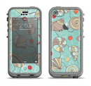 The Teal Vintage Seashell Pattern Apple iPhone 5c LifeProof Nuud Case Skin Set