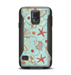 The Teal Vintage Seashell Pattern Samsung Galaxy S5 Otterbox Commuter Case Skin Set