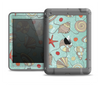 The Teal Vintage Seashell Pattern Apple iPad Air LifeProof Fre Case Skin Set