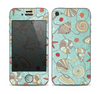 The Teal Vintage Seashell Pattern Skin for the Apple iPhone 4-4s