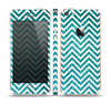 The Teal & White  Sharp Glitter Print Chevron Skin Set for the Apple iPhone 5s