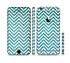 The Teal & White  Sharp Glitter Print Chevron Sectioned Skin Series for the Apple iPhone 6s Plus
