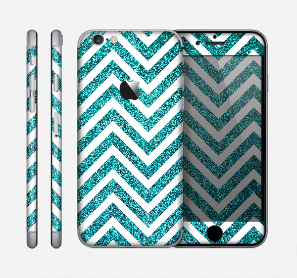 The Teal & White  Sharp Glitter Print Chevron Skin for the Apple iPhone 6
