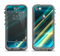 The Teal & Yellow Abstract Glowing Lines Apple iPhone 5c LifeProof Nuud Case Skin Set