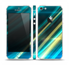The Teal & Yellow Abstract Glowing Lines Skin Set for the Apple iPhone 5