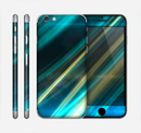 The Teal & Yellow Abstract Glowing Lines Skin for the Apple iPhone 6