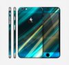 The Teal & Yellow Abstract Glowing Lines Skin for the Apple iPhone 6 Plus