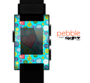 The Teal & Vintage Vector Heart Buttons Skin for the Pebble SmartWatch