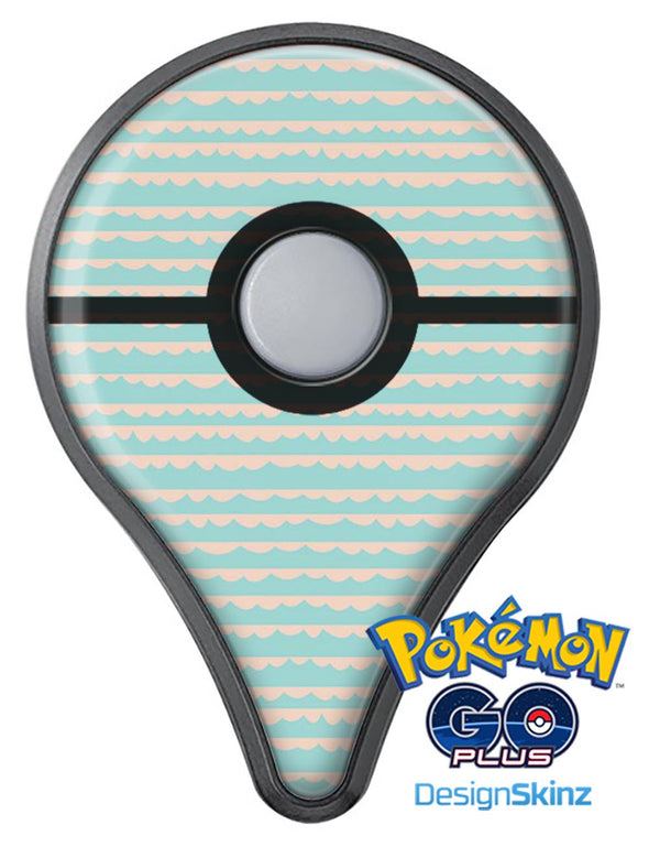 The Teal and Coral Striped Patttern Pokémon GO Plus Vinyl Protective Decal Skin Kit