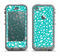 The Teal and White Floral Sprout Apple iPhone 5c LifeProof Nuud Case Skin Set