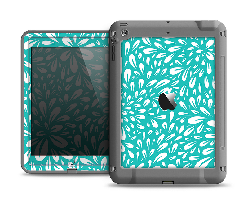 The Teal and White Floral Sprout Apple iPad Air LifeProof Fre Case Skin Set
