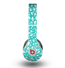 The Teal and White Floral Sprout Skin for the Beats by Dre Original Solo-Solo HD Headphones