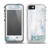 The Teal and White WaterColor Panel Skin for the iPhone 5-5s OtterBox Preserver WaterProof Case