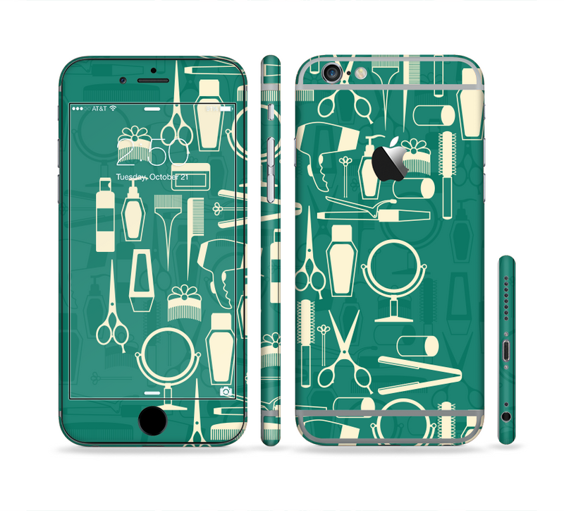 The Teal and Yellow Beauty Product Icons Sectioned Skin Series for the Apple iPhone 6s