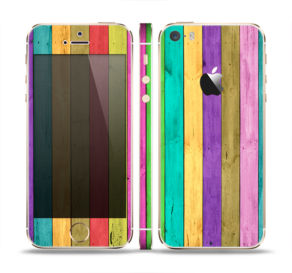 The Thin Neon Colored Wood Planks Skin Set for the Apple iPhone 5s