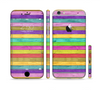 The Thin Neon Colored Wood Planks Sectioned Skin Series for the Apple iPhone 6