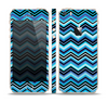 The Thin Striped Blue Layered Chevron Pattern Skin Set for the Apple iPhone 5s