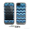 The Thin Striped Blue Layered Chevron Pattern Skin for the Apple iPhone 5c LifeProof Case