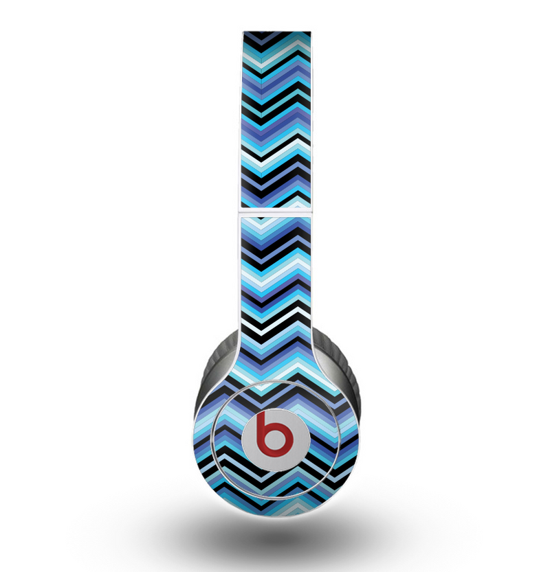 The Thin Striped Blue Layered Chevron Pattern Skin for the Beats by Dre Original Solo-Solo HD Headphones