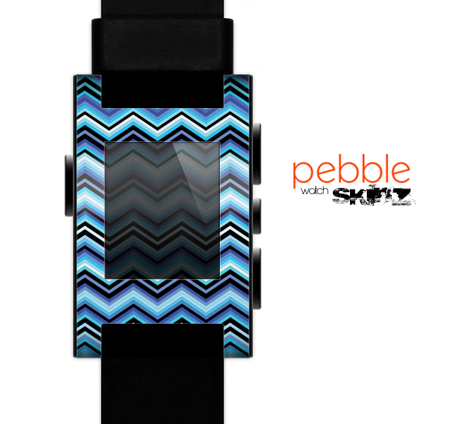 The Thin Striped Blue Layered Chevron Pattern Skin for the Pebble SmartWatch