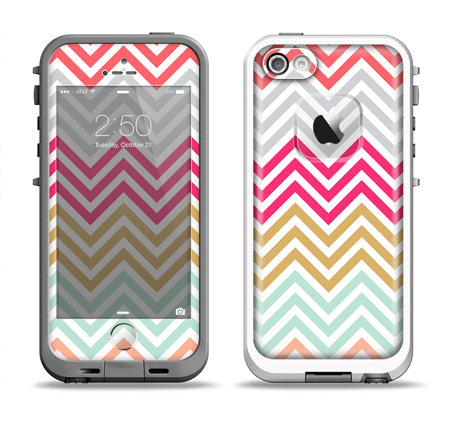 The Three-Bar Color Chevron Pattern Apple iPhone 5-5s LifeProof Fre Case Skin Set