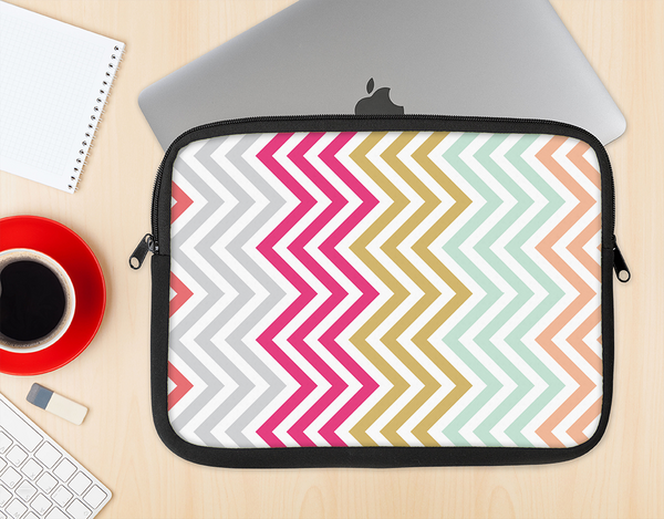 The Three-Bar Color Chevron Pattern Ink-Fuzed NeoPrene MacBook Laptop Sleeve