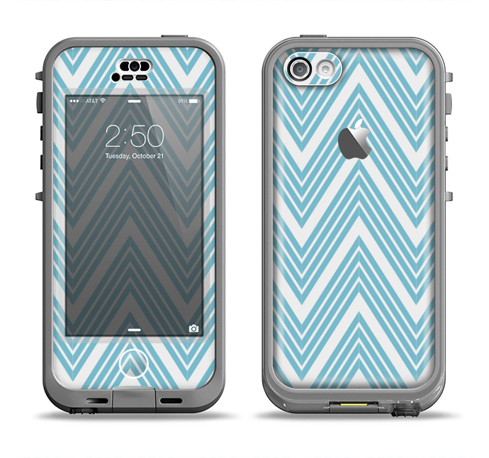 The Three-Lined Blue & White Chevron Pattern Apple iPhone 5c LifeProof Nuud Case Skin Set