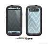 The Three-Lined Blue & White Chevron Pattern Skin For The Samsung Galaxy S3 LifeProof Case
