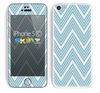 The Three-Lined Blue & White Chevron Pattern Skin for the Apple iPhone 5c