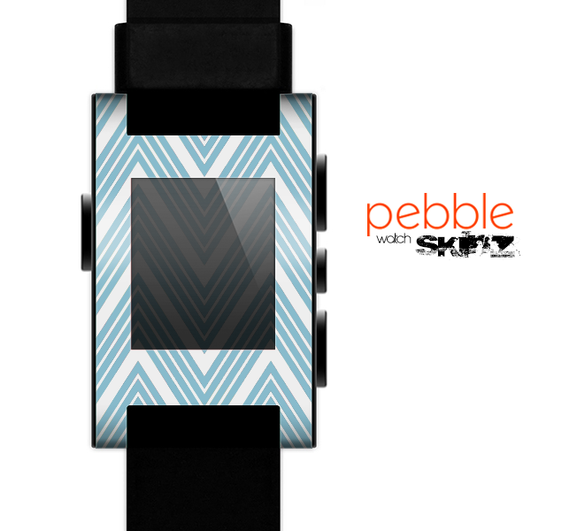 The Three-Lined Blue & White Chevron Pattern Skin for the Pebble SmartWatch