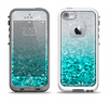 The Aqua Blue & Silver Glimmer Fade Apple iPhone 5-5s LifeProof Fre Case Skin Set