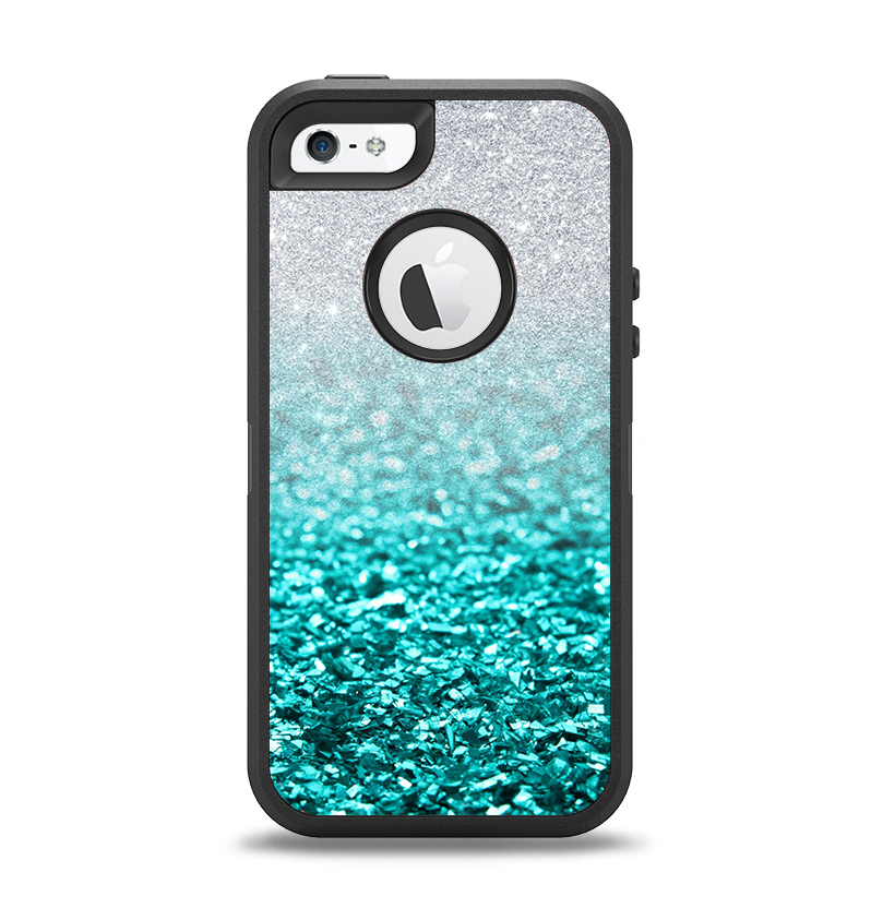 best authentic 27859 a3766 The Aqua Blue & Silver Glimmer Fade Apple iPhone 5-5s Otterbox Defender  Case Skin Set