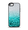 The Aqua Blue & Silver Glimmer Fade Apple iPhone 5-5s Otterbox Symmetry Case Skin Set