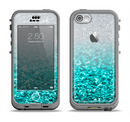 The Aqua Blue & Silver Glimmer Fade Apple iPhone 5c LifeProof Nuud Case Skin Set