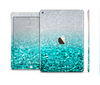 The Aqua Blue & Silver Glimmer Fade Skin Set for the Apple iPad Pro