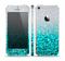 The Aqua Blue & Silver Glimmer Fade Skin Set for the Apple iPhone 5