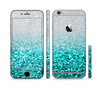 The Aqua Blue & Silver Glimmer Fade Sectioned Skin Series for the Apple iPhone 6