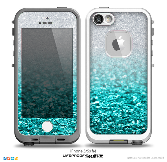 the best attitude 79c36 c28a5 The Aqua Blue & Silver Glimmer Fade Skin for the iPhone 5-5s Fre LifeProof  Case
