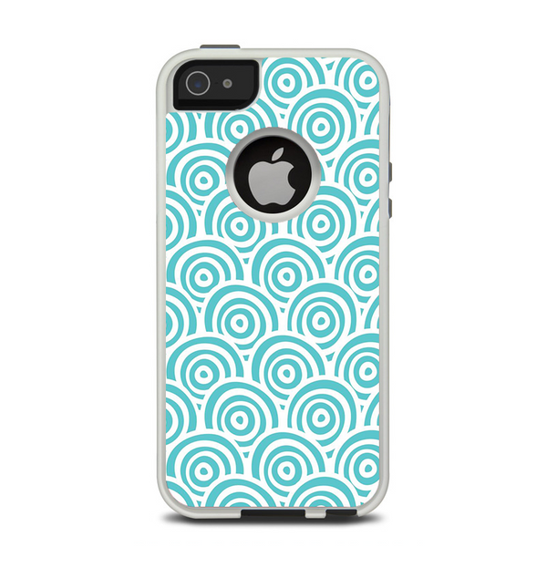 The Aqua Blue & White Swirls Apple iPhone 5-5s Otterbox Commuter Case Skin Set