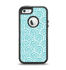 The Aqua Blue & White Swirls Apple iPhone 5-5s Otterbox Defender Case Skin Set