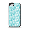 The Aqua Blue & White Swirls Apple iPhone 5-5s Otterbox Symmetry Case Skin Set