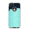 The Aqua Green Abstract Swirls with Dark Apple iPhone 5-5s Otterbox Commuter Case Skin Set