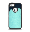 The Aqua Green Abstract Swirls with Dark Apple iPhone 5-5s Otterbox Defender Case Skin Set