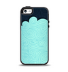 The Aqua Green Abstract Swirls with Dark Apple iPhone 5-5s Otterbox Symmetry Case Skin Set