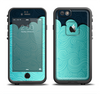The Aqua Green Abstract Swirls with Dark Apple iPhone 6/6s Plus LifeProof Fre Case Skin Set