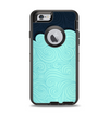 The Aqua Green Abstract Swirls with Dark Apple iPhone 6 Otterbox Defender Case Skin Set