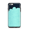 The Aqua Green Abstract Swirls with Dark Apple iPhone 6 Plus Otterbox Symmetry Case Skin Set