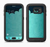 The Aqua Green Abstract Swirls with Dark Full Body Samsung Galaxy S6 LifeProof Fre Case Skin Kit