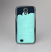 The Aqua Green Abstract Swirls with Dark Skin-Sert Case for the Samsung Galaxy S4